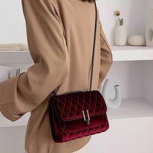 Handbags - Velvet Cross Body Chain Bag